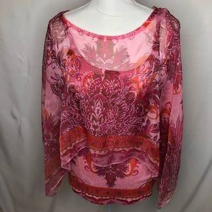 Women's tank top with shawl pink tone medium
